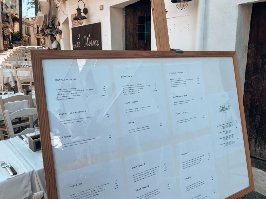 La Oliva Ibiza menu